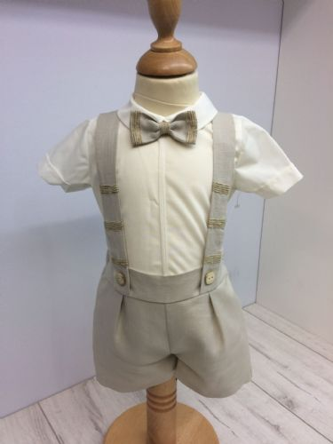 Beige Short and Shirt Set with Bow Tie
